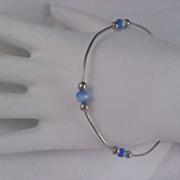 SALE Blue Cat's Eye Glass Beads & Silver Plate Beads Bangle