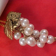 SALE Massive GRAPE CLUSTER Simulated Pearls Gilt Gold Leaves Pendant & Chain