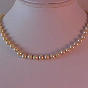 SALE 1940's MARVELLA ~  Creamy Hand-Knotted Simulated Pearls & Diamante Clasp Necklace