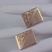 SALE Gold Plate Engravable CUFF LINKS - Ornate Engravings
