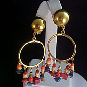 SALE Agate Nugget Dangles Gold Plate Rings Clip Earrings