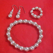Simulated Pearls & Diamante Rondelles Full Parure - Bracelet - Ring - Earrings