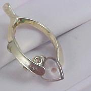 SALE Awesome MUSTARD SEED Heart Dangle & Wishbone Gold Plate Brooch/Pin