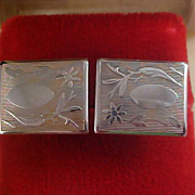 SALE 1950's Engravable Gold Plate Cuff Links