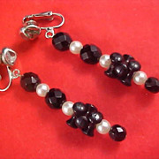 SALE Black Crystals & Simulated Pearls Long Dangle Silver Plate Clip Earrings
