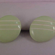 SALE MINT GREEN Lucite Deeply Carved  BUTTON Post Earrings