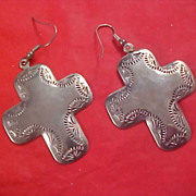 SALE Repousse Silver Plate Ornate CROSS French Wire Earrings