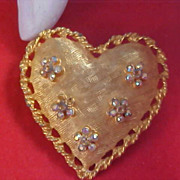 SALE Aurora Borealis  Floral Lacey & Textured Gold Plate HEART Brooch