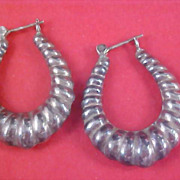 SALE Silver Tone Lever Back HOOP Earrings