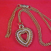 SALE Simulated Tiny Seed Pearl Gold Plate HEART Pendant & Chain Necklace