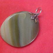 SALE Gorgeous Swirled Moss Green Genuine Agate Silver plate Filigree Cap Pendant