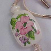 SALE AVON Porcelain Medallion on white Cord Necklace