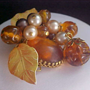 SALE Citrine Glass Cabochon-Molded Topaz Beads-Simulated Pearls Dangle Brooch