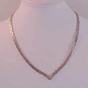 "SALE Nugget Style Gold &  SILVER PLATE ~  ""V"" Necklace"