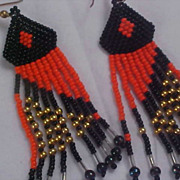 SALE NATIVE AMERICAN Hand Made Glass Bead (Orange & Black) Dangle Wire Earrings