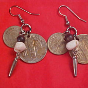 SALE GUATEMALA Double Coin Quartz Stone Wire Earrings