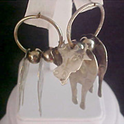 SALE 3 Dimensional  Silver Plate COW Articulate Post Earrings