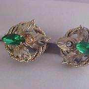 SALE Green Marquis Rhinestones & Diamante Screw Back Earrings