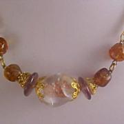 SALE Massive Glass Stone w/Embedded GOLD FLUSS Stone,-Topaz Glass Stones Necklace