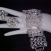 Link Chunky  BRACELET & Matching Clip EARRINGS - Silver Plate Demi Parure
