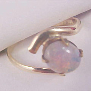 "SALE DISCOUNTED~ Scintillating 10kt GF ""Fiery""  Genuine Opal -  RING - Size 4"