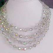 REDUCED Huge REDUCTION~Bicone Lead CRYSTAL 4 Strand Rainbow Aurora Borealis necklace - Diamant