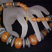 SALE Fabulous Peach Confetti &  Slate Blue Saucer Beads - Gilt Gold Spacers Graduated Necklace