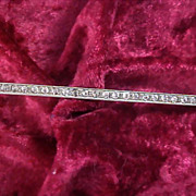 """SALE 1930's STERLING SILVER Cubic Zirconia  Bar Pin ~  Old """"C' Clasp - Ornate Setting"""