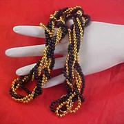 SALE Awesome Black & Gilt Gold Bead TORSADE Necklace