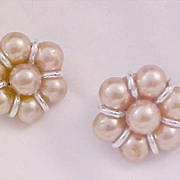 SALE 1940's Simulated CHAMPAGNE Glass Pearl Silver Plate JAPAN Clip Earrings