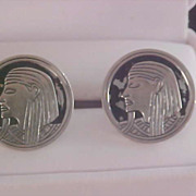 SALE SWANK - EGYPTIAN Inspired - Silver Plate & Black Enamel Men's Cuff Links