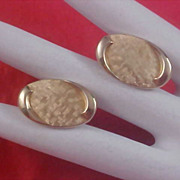 SALE SWANK - 1950's Textured & Polished Gold Pate Bullet Cuff Links