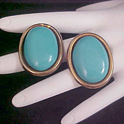 SALE Simulated Turquoise Oval Post Earrings