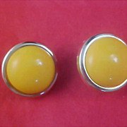 SALE YELLOW Cabochon Silver Plate 1950's Post Earrings