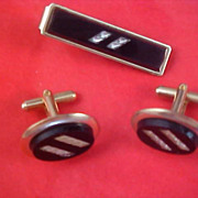 SALE Black Onyx & Gold & Silver Plate 1950's Tie Clasp & Cuff Link Set