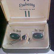 SALE Simulated Australian Black Opal Tie Tac & Cuff Link Set by Embassy