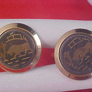 SALE Spain BULL Gold Plate & Gilt Gold Accent Charcoal Background Cuff Links
