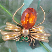 SALE Orange CZECH Glass Gold Plate Signed CZECHO Green Rhinestone FLY (Bug) Brooch