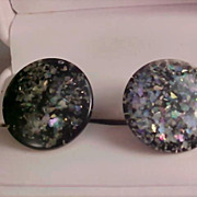 SALE Abalone Bits Under Laminate Button Clip Earrings