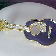 SALE Mid-Century Pave DIAMANTE & Cobalt Blue ENAMEL GUITAR Gold Plate Figural  Brooch/Pin