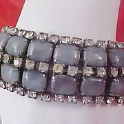SALE OUEENS Special Mid Century Blue MOONSTONES & DIAMANTE 5 Row Silver Plate Bracelet
