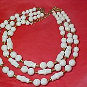 "SALE Older CORO (Script ""r"") Three Strand Milk White Lucite & Gilt Gold Spacer Beads"
