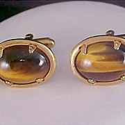 SALE Free Ship~Mid Century Tiger's Eye & Gold Plate Oval Cuff Links