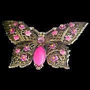 SALE Designer ART Hot Pink Art Glass  BUTTERFLY Enamel & Rhinestone Brooch