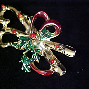 SALE Double CANDY CANES Christmas Holly~Red Bow Gold Plate Brooch