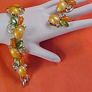 SALE Peach & Tangerine Cabochons & Rhinestone Demi Parure - Bracelet & Clip Earrings