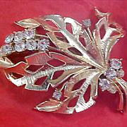 SALE Lavish Diamante  - open Design Gold  Plate dimensional Brooch