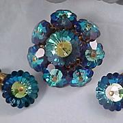 SALE Blue Watermelon  Rivoli Suite - Brooch & Clip Earrings