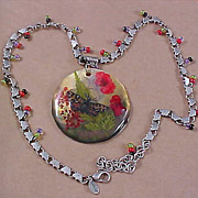 SALE Abalone Shell, florals under Laminate Pendant & Glass Bead Necklace