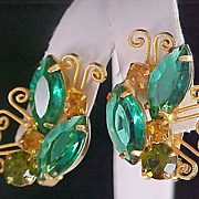 SALE Scintillating Dazzling Emerald  Green-Amber - Olivine  Colored Glass ~  Open Back Gold Pl
